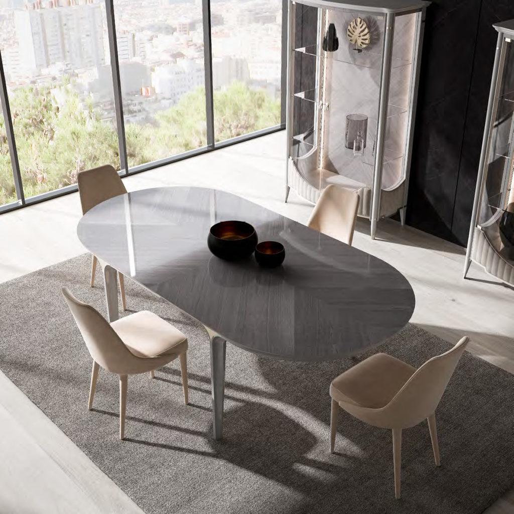 GHEZZANI-ARREDAMENTI-Collezione-NAVIGLI-DINING-PARIS-tavolo-table-in-dining-room-con-vetrina-SOLITAIRE-e-sedia-MONTEPENNY-1